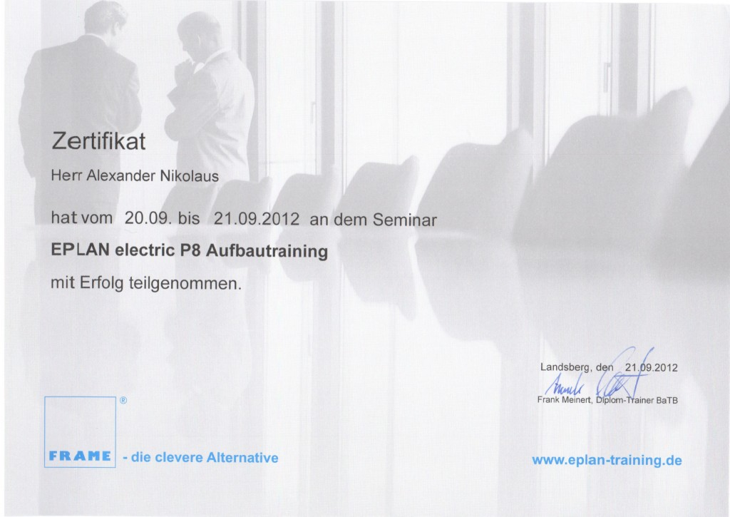Eplan P8 Aufbautraining / Nikolaus | SRU Homepage